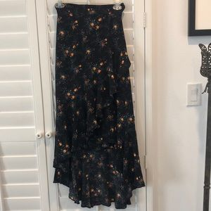 Sandro black floral high low mid ruffle skirt